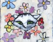 Flower Cat - Original Oil Painting