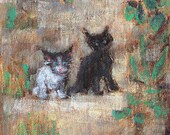 Two Kittens in the Yard- Oil Painting