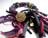 RipTie WristTwist Bracelet - OOAK - Handmade from Upcycled Recycled Fabric Yarn Blend by RipTieKnits