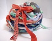 RESERVED FOR TWISTEDKNITSISTERS: 40 yds. Coral Reef RipTie - Handmade Upcycled Recycled Fabric Yarn Blend by RipTieKnits