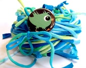 40 yds. Teal Aqua Lime Blue Green Ocean Blend RipTie  - Handmade Upcycled Recycled Fabric Yarn Blend by RipTieKnits