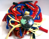 40 yds. Primary Red Yellow Blue Super Hero Blend RipTie  - Handmade Upcycled Recycled Fabric Yarn Blend by RipTieKnits