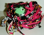 40 yds. Black Hot Pink Orange Lime Floral Rosy Posy RipTie - Handmade Upcycled Recycled Fabric Yarn Blend by RipTieKnits