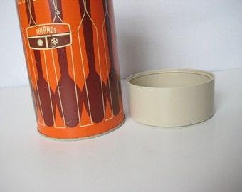 Retro Orange Thermos--fork and spoon pattern