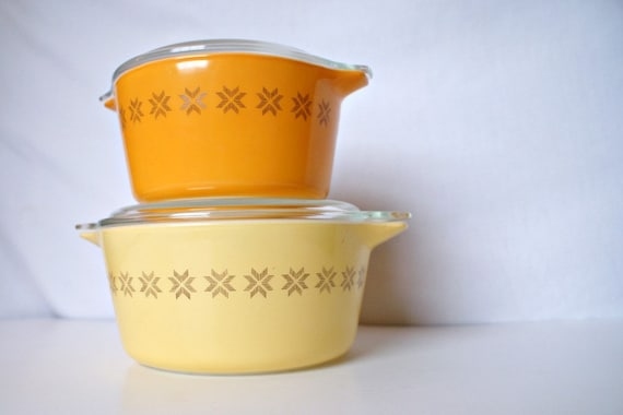 Vintage Orange and Yellow Pyrex Dishes