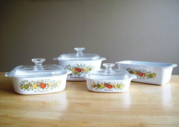 Instant Set - L'Echalote La Marjolaine Full Set of 4 Vintage Corning Ware Spice of Life Dishes
