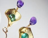 Purple & Tropical Blue Calla Lily Earrings - Touch of Paradise - Gold Calla Lily Flower with Aqua Blue Apatite and Purple Amethyst Gemstone