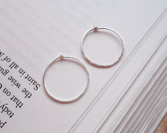 Sterling Silver HAMMERED HOOP Earrings - SMALL Sterling Silver Hoops 21mm
