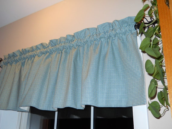 Waverly Gingham Valance Teal Blue Off White By Chriscrafts2010