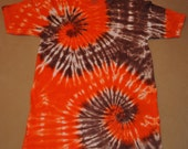 Tie Dyed Brown and Orange Double Spiral Shirt (CHILD XL)