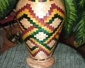 Segmented Wood Vase with Purple, Yellow, and Green Celtic Knot