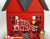 Custom Fire House Playset Hand-Painted Paper Mache House