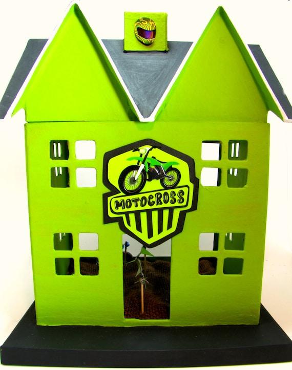 Custom Motocross Dirt Bike House - Hand-Painted Paper Mache