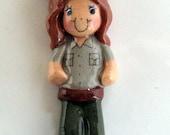 Park Ranger (Female) Ornament handmade bread dough