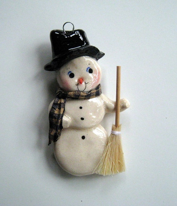Snowman Christmas Ornament Handmade Bread Dough