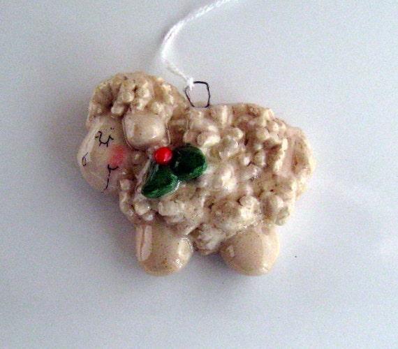 Sheep ornament handmade bread dough by judy caron