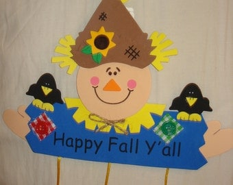 Happy Fall YAll handmade foam sign with scarecrow - x42