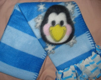 Handmade fleece scarf with a happy Penguin & striped fringe  -  sc01a