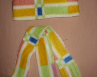 Handmade multi-colored plaid hat & scarf set for 18 inch Dolls - ag50