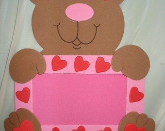 Handmade 3-D Teddy Bear picture frame with magnetic back - xv1