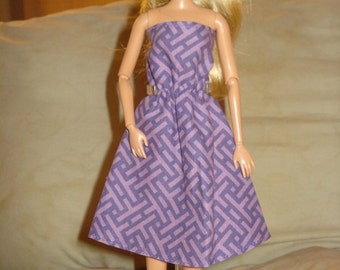 SALE - Purple zig zag print sundress for Fashion Dolls - ed189