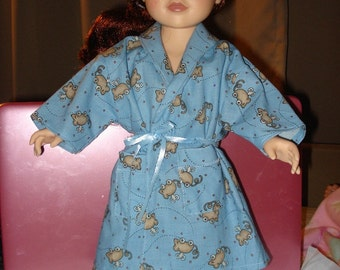 GIFT SET - 18 inch Doll blue nightgown, robe & slippers set - ag61