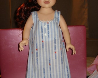 SALE - GIFT SET - 18 inch Doll blue striped Looney Tunes nightgown, robe & slipper set - ag62