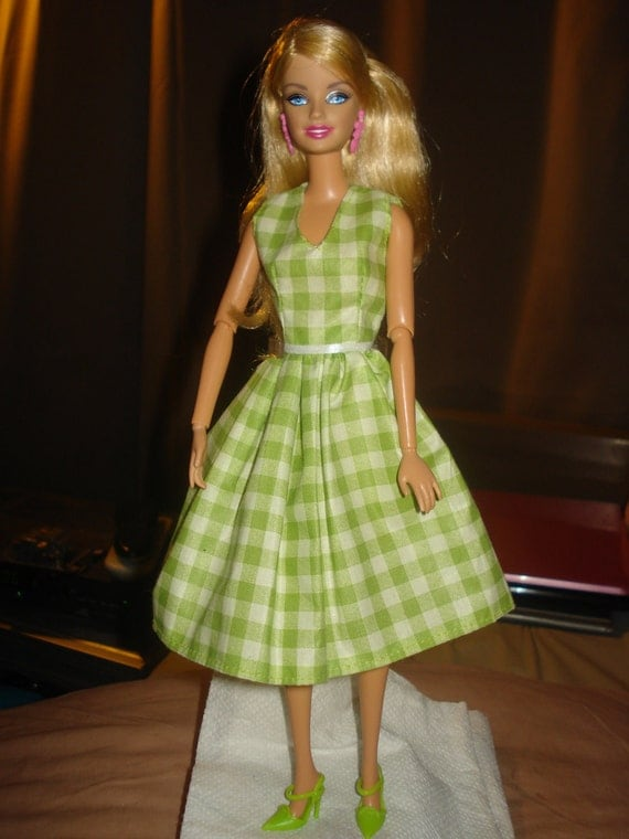 Handmade green & white checked dress for Fashion Dolls - ed171