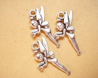 10pcs Fairy Aniqued Silver Pendant Charms Drop 25x14mm B681