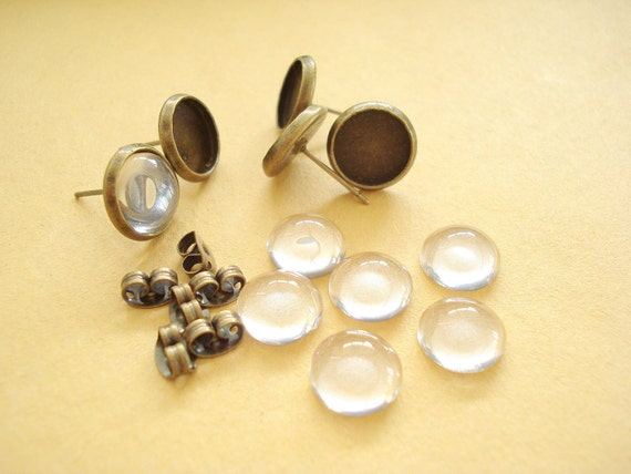 10sets Stud Earring (12mm)  Antiqued Bronze Base and 12mm Round Clear Glass Cabochon NO.158 E16