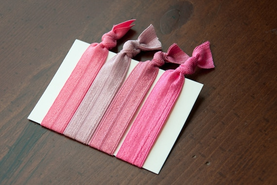 Hand-Tied Hair Elastics - Pretty in Pink