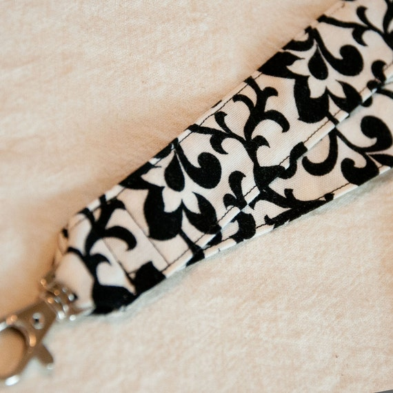 Black and White Floral Fabric Lanyard Badge ID Holder