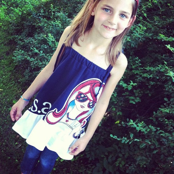 Patriotic Fashionista Appliqued Fourth of July Tunic