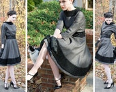 50s - The Bishops Wife - charcoal gray wool dress with black Persian lamb trim winter holiday wear - size small