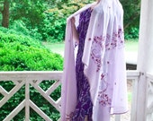 70s - Wrapped in Lavender - long purple wrap shawl scarf with flowers