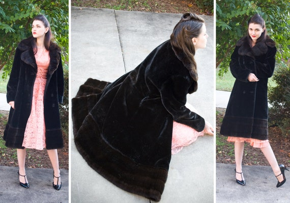 DEAL of the day 60s - The Czar's Daughter - long black double breasted faux fur pile coat  - size s m