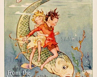 Underwater Adventure - Big Fish -  Personalized Bookplate - Great for Photo albums, Journals, Scrapbooks