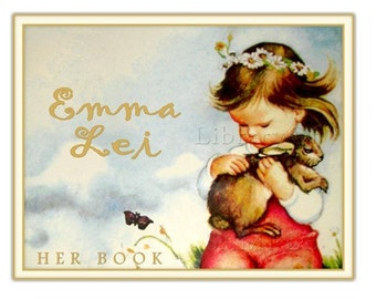 Gentle Spirits - ADHESIVE - Personalized Bookplate - STICKERS - little girl - rabbit - bunny - daisy chian