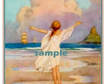 Dream Ships by Margaret Tarrant - Ocean - Ships - Girl - Personalized Vintage Bookplate