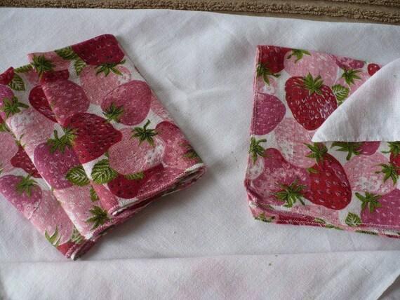 Vintage Linen Table Cloth/white/pink w/strawberry napkins