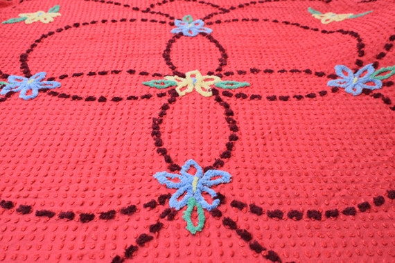 Vintage Red Chenille Bedspread with Flowers - Double