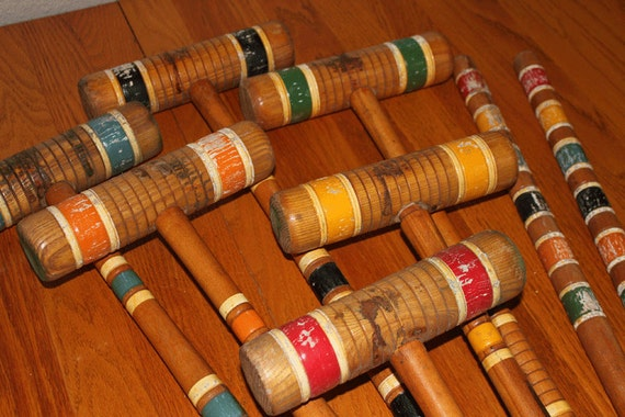 Vintage Set of Six Croquet Mallets and 2 Wood Pegs - By LawnPlay