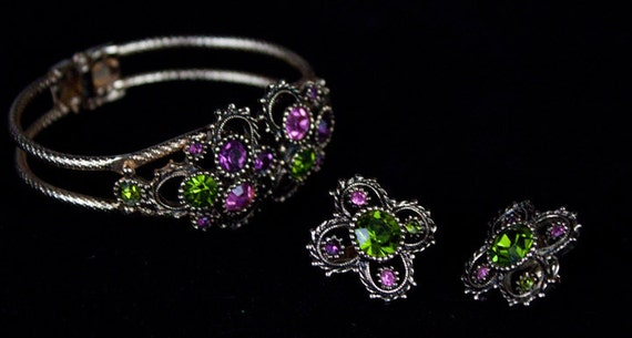 Vintage Sarah Coventry Bracelet and Earrings - Austrian Lights Collections