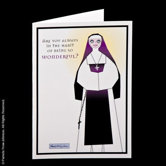 50% OFF Sale: Set of Three Blank Nun Illustrated Gratitude Greeting Cards