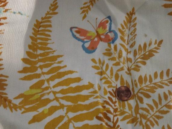SALE--Butterfly Golden Fern Vintage Fabric