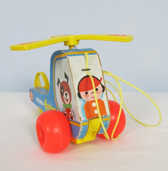Vintage 1970 FISHER PRICE Mini Copter Pull Toy