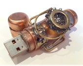 Steampunk 8GB USB Flash Drive Model 389 in a Tin Box