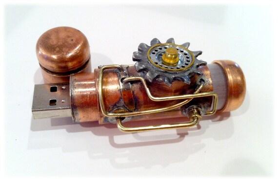 Steampunk 16GB USB Flash Drive Model 361 in a Tin Box, Double Indicator Lights