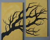 Morning Glory Twisted Tree Original Acrylic on Canvas Painting  12x24 each