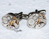 Steampunk Cufflinks - Matching RUSSIAN Vintage Silver Watch Movement Men Steampunk Cufflinks Cuff Links Wedding Gift for Him